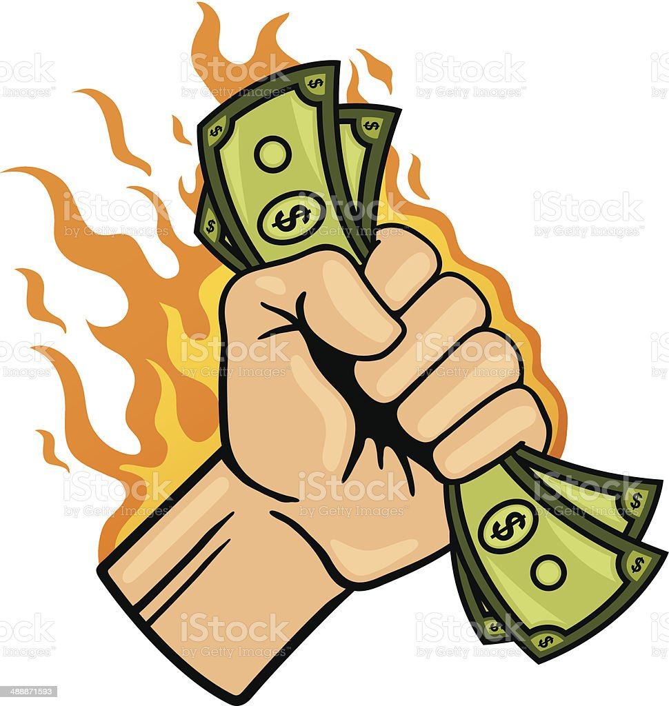 Money Burning a Hole in Your Pocket royalty-free stock vector art