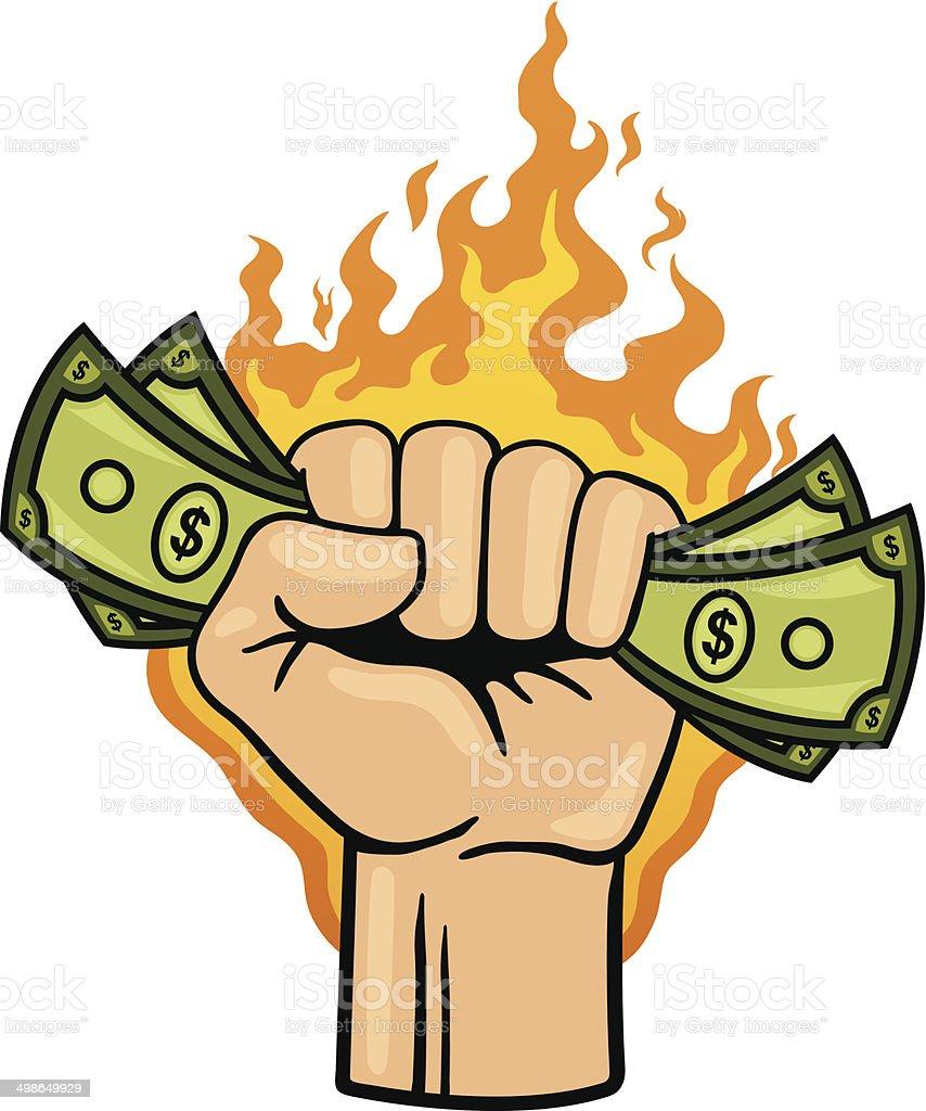 Money Burning a Hole in Your Pocket vector art illustration