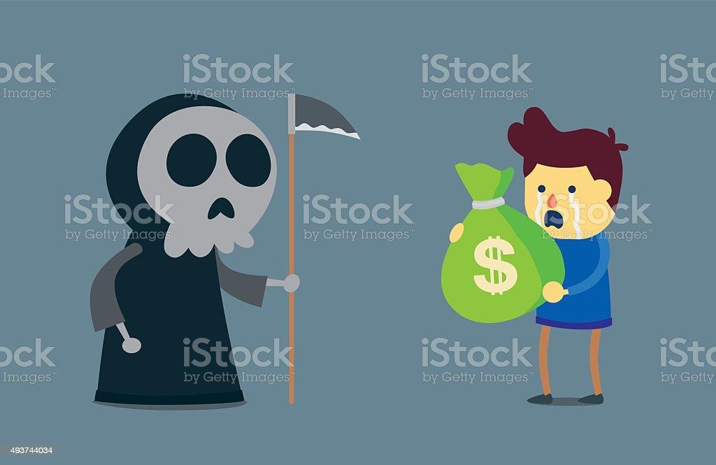 Money can not buy life. vector art illustration