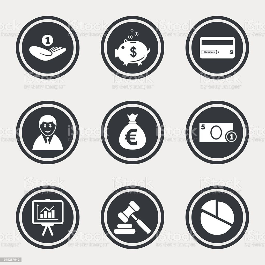 Money, cash and finance icons. Piggy bank sign. vector art illustration