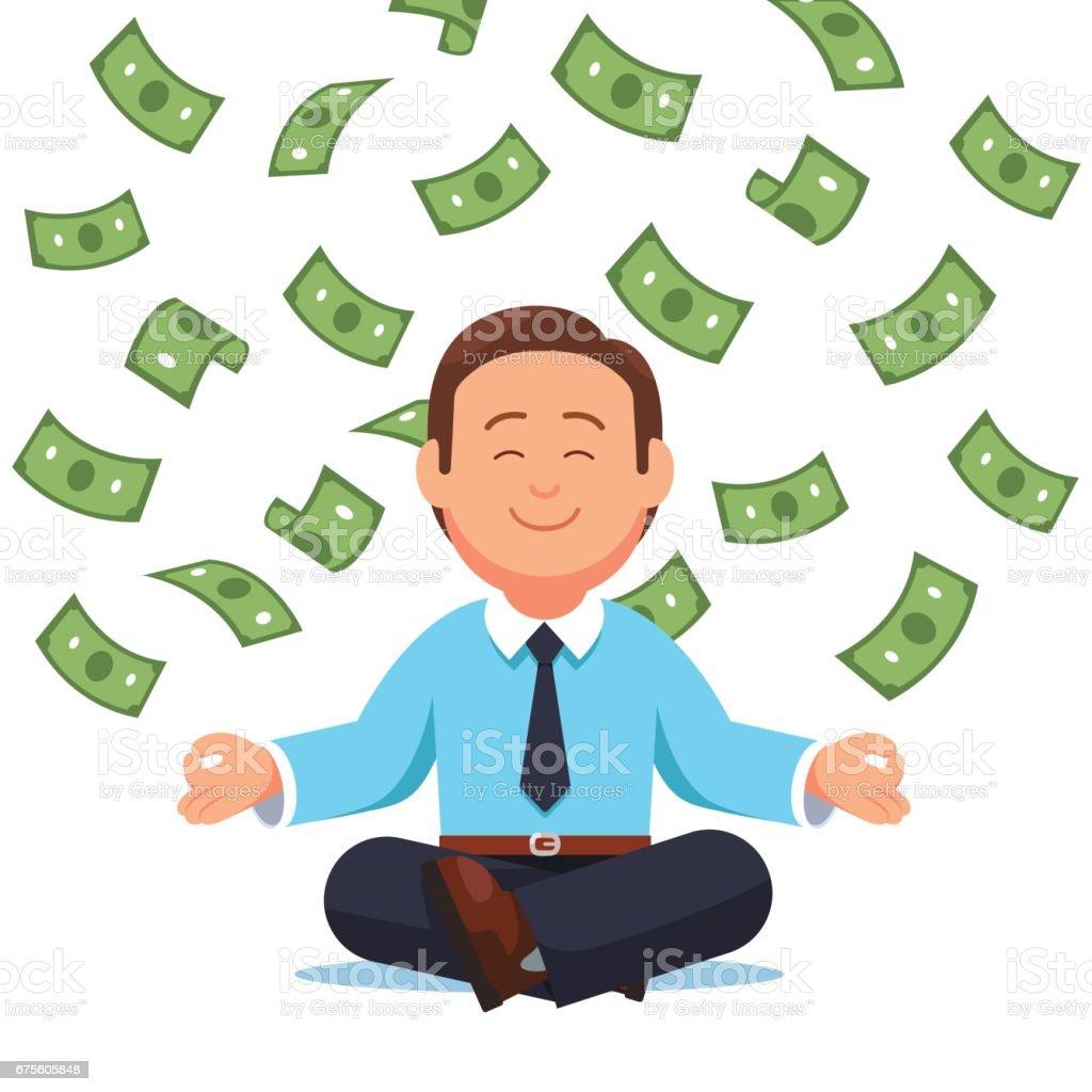 Money cash flying down on business man sitting vector art illustration