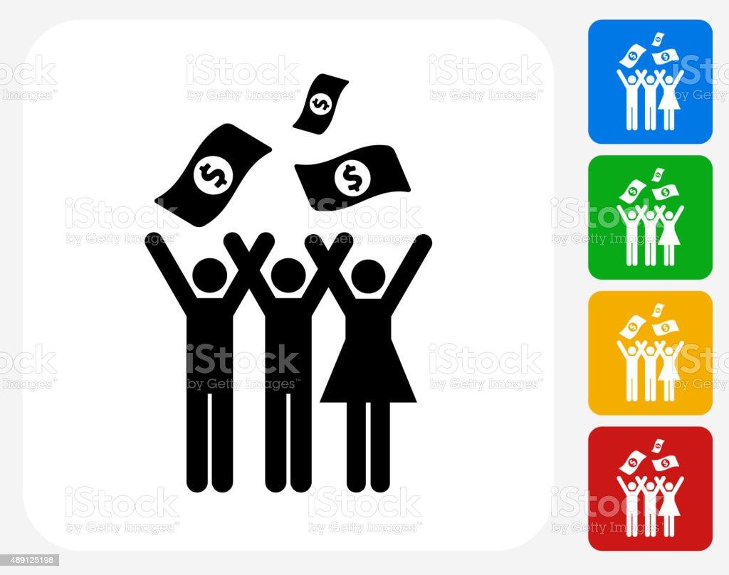 Money Celebration Icon Flat Graphic Design vector art illustration