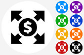 Money Circulation Icon on Flat Color Circle Buttons