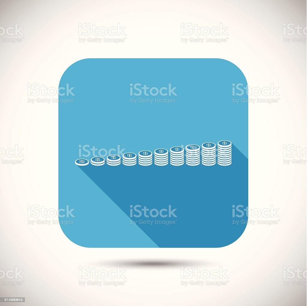 De monnaie d'argent plat long ombre icône stock vecteur libres de droits libre de droits