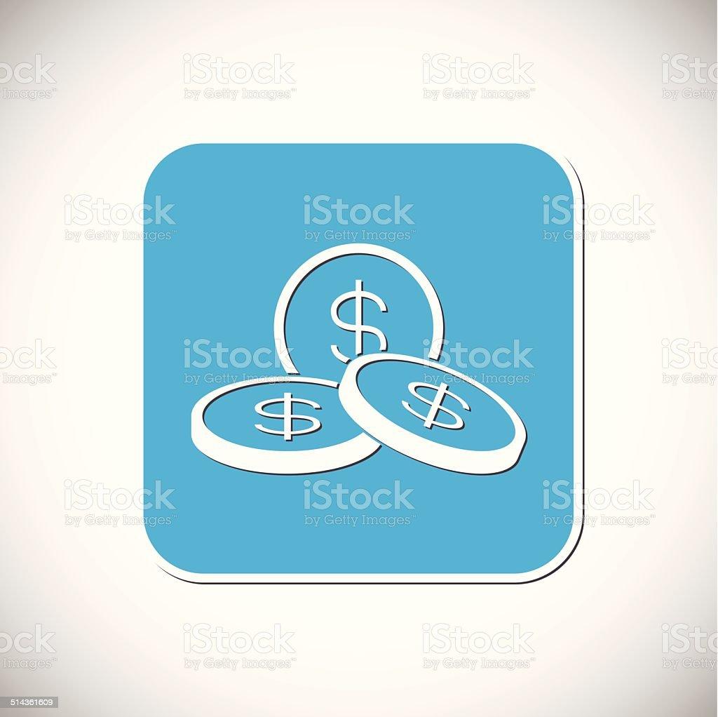 Monnaie d'argent icône.  Monture carrée bleu.  Illustration vectorielle stock vecteur libres de droits libre de droits