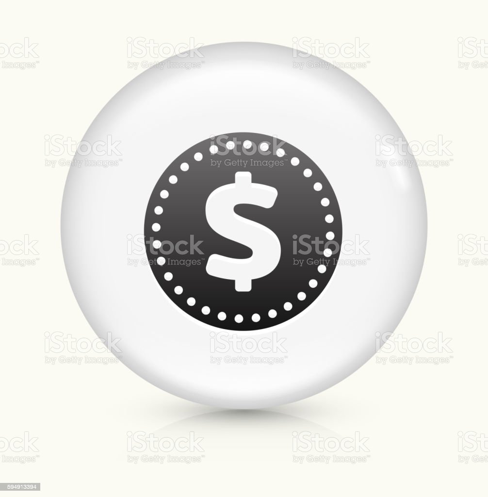 Money Coin icon on white round vector button vector art illustration