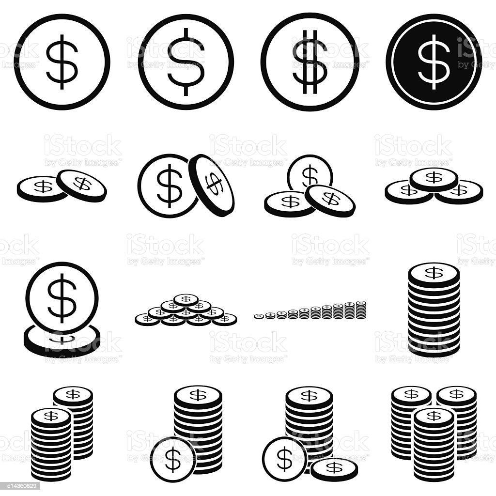 Pièce de monnaie d'argent icône sur un arrière-plan blanc stock vecteur libres de droits libre de droits