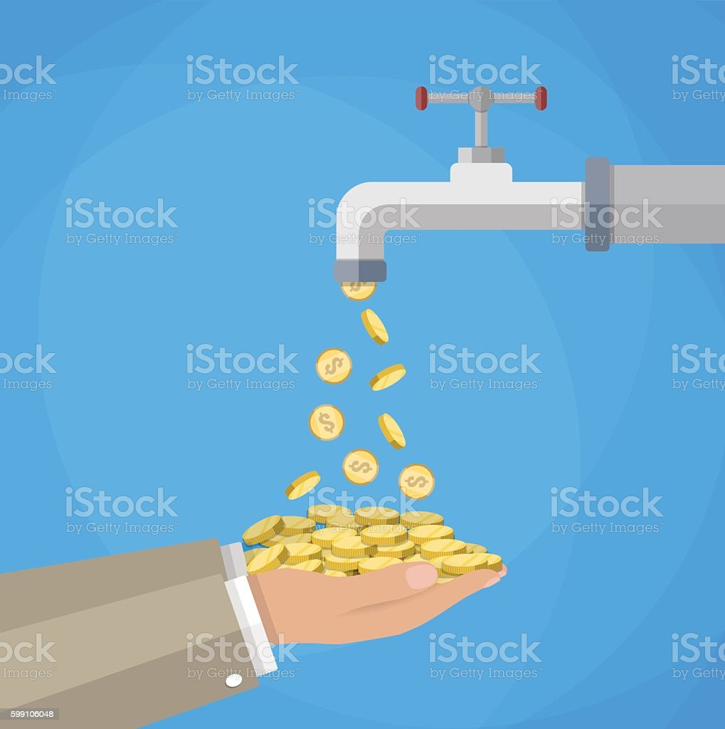 Money coins flows to hand from tap vector art illustration