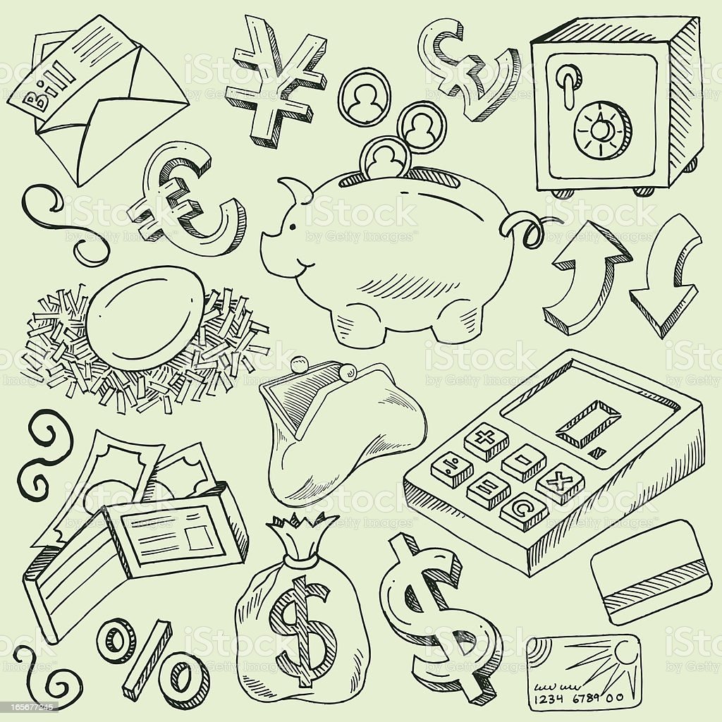 Money, Currency and Finance Doodles royalty-free stock vector art