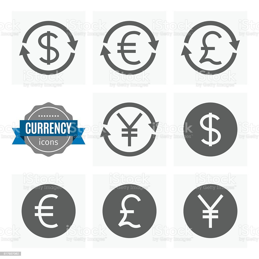 money currency icons set vector art illustration