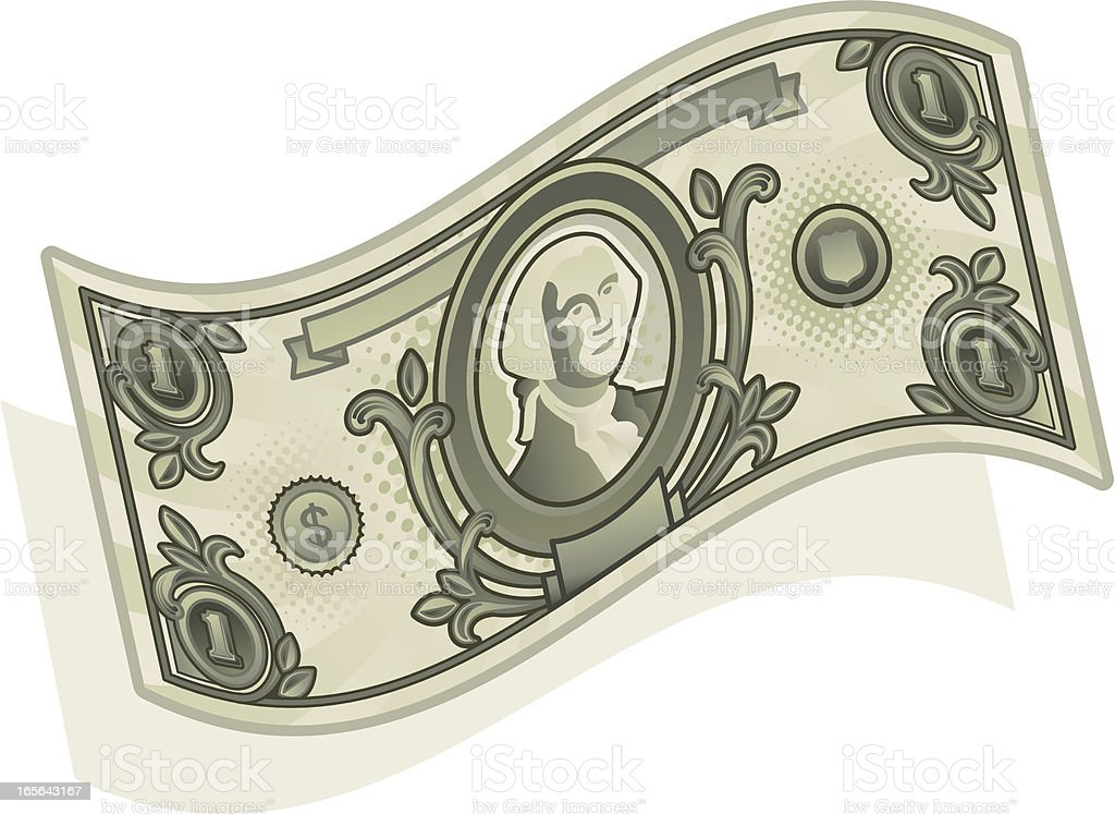 money curved vector art illustration