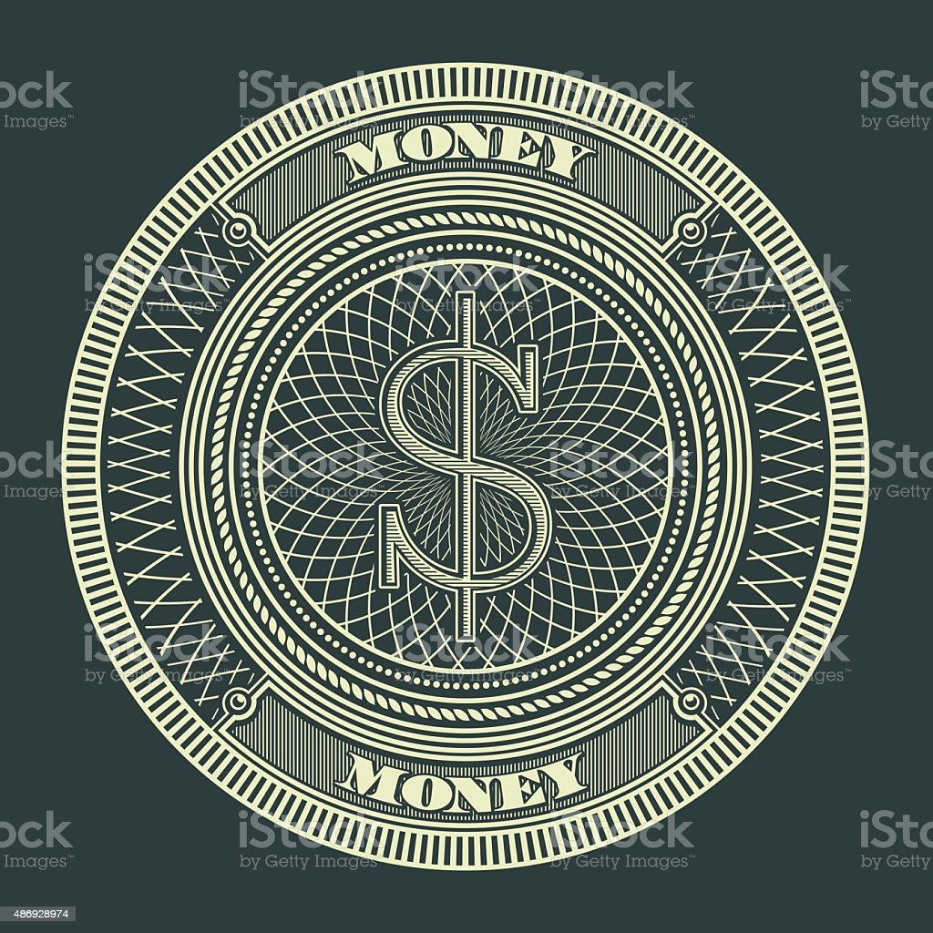 Money Decorative Circle Sign Symbol Vector Illustration vector art illustration
