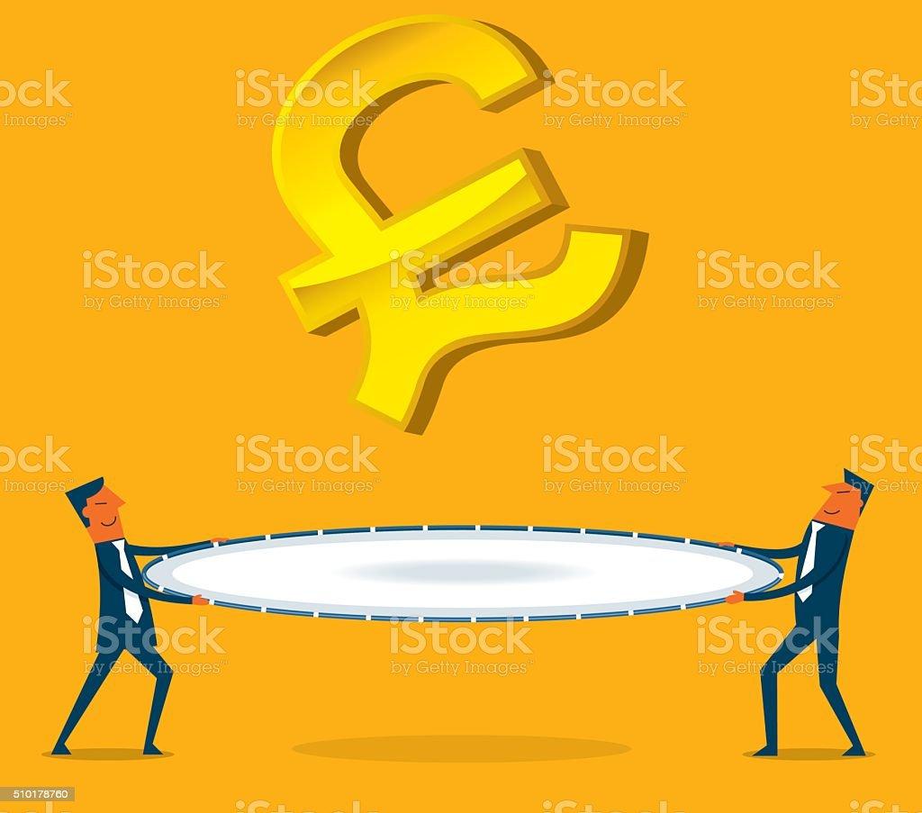 Money depreciation vector art illustration