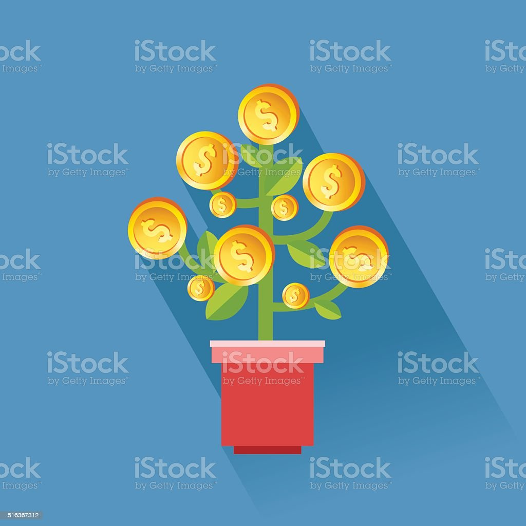 Business growth concept. Money dollar coin tree in a pot. Good for...