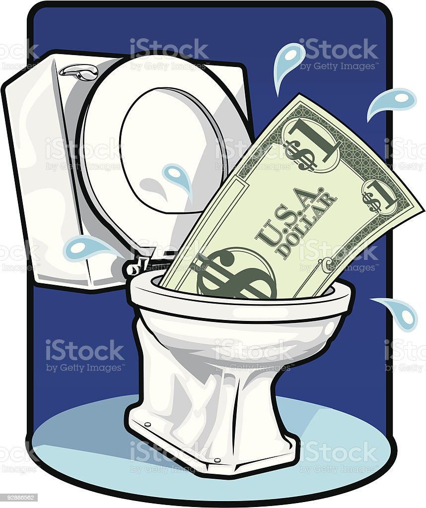 Money Down The Toilet royalty-free stock vector art