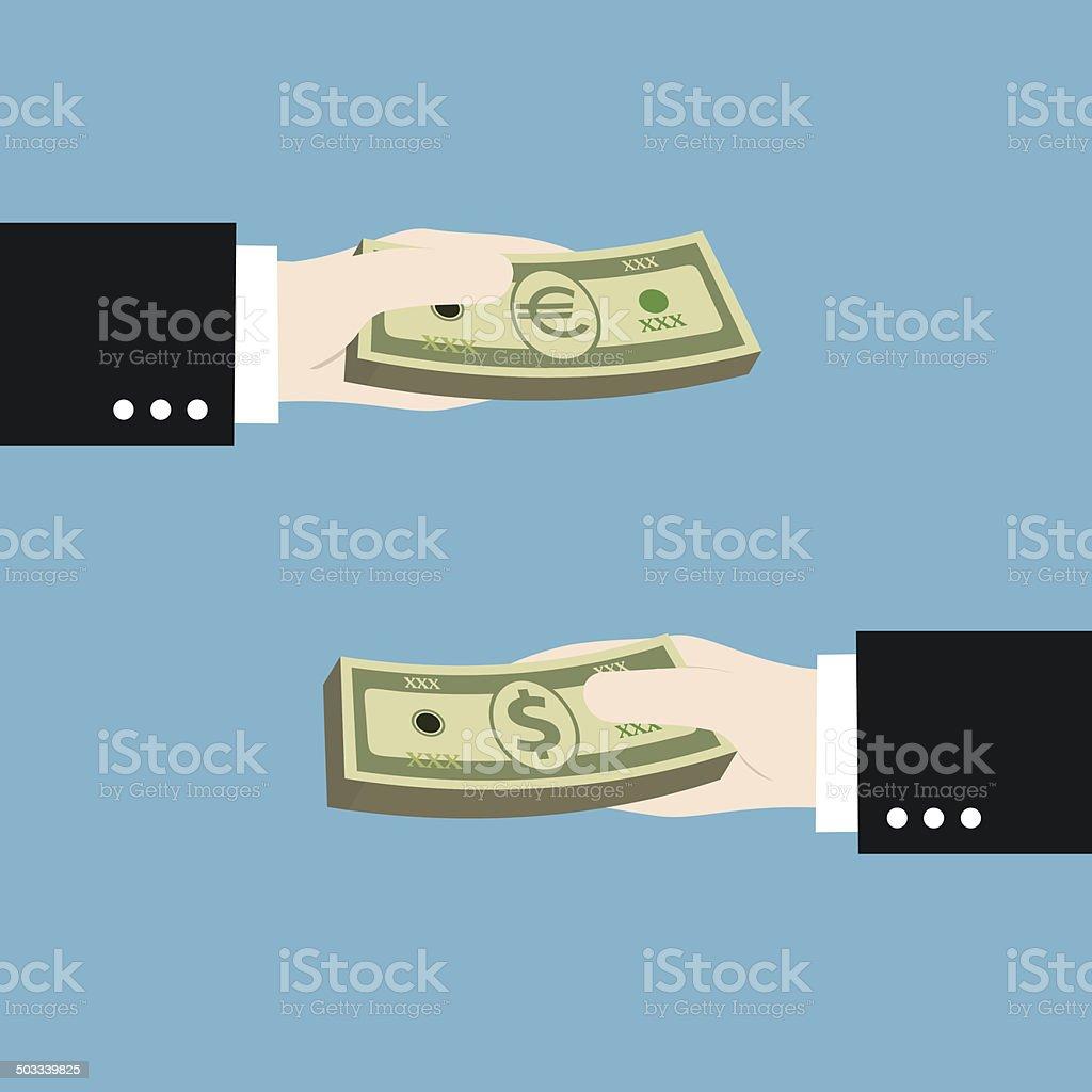 money exchange between US dollar to euro royalty-free stock vector art