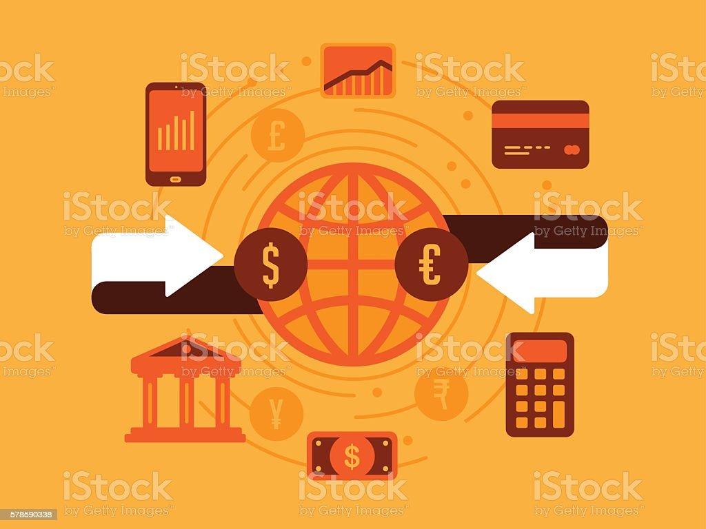 Money Exchange vector art illustration
