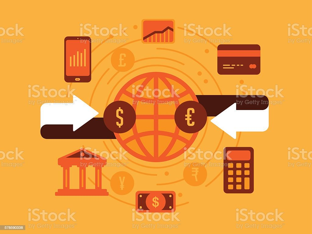 Money Exchange vector art illustration