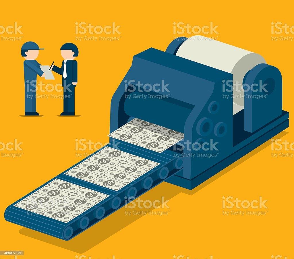 Money Factory vector art illustration