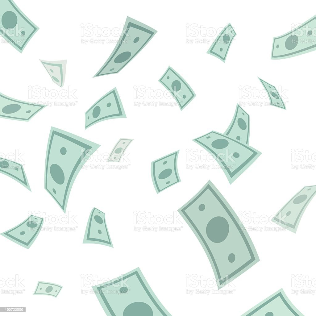 Money falling from above isolated on white background. vector art illustration