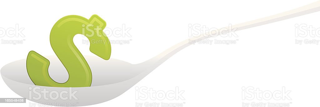 Money Feed (Dollar Sign on Spoon) royalty-free stock vector art