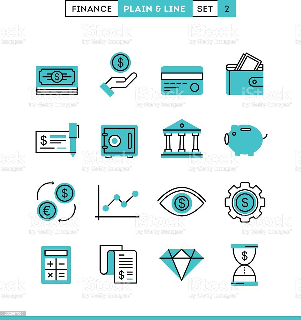 Money, finance, savings...Plain and line icons set, flat design vector art illustration