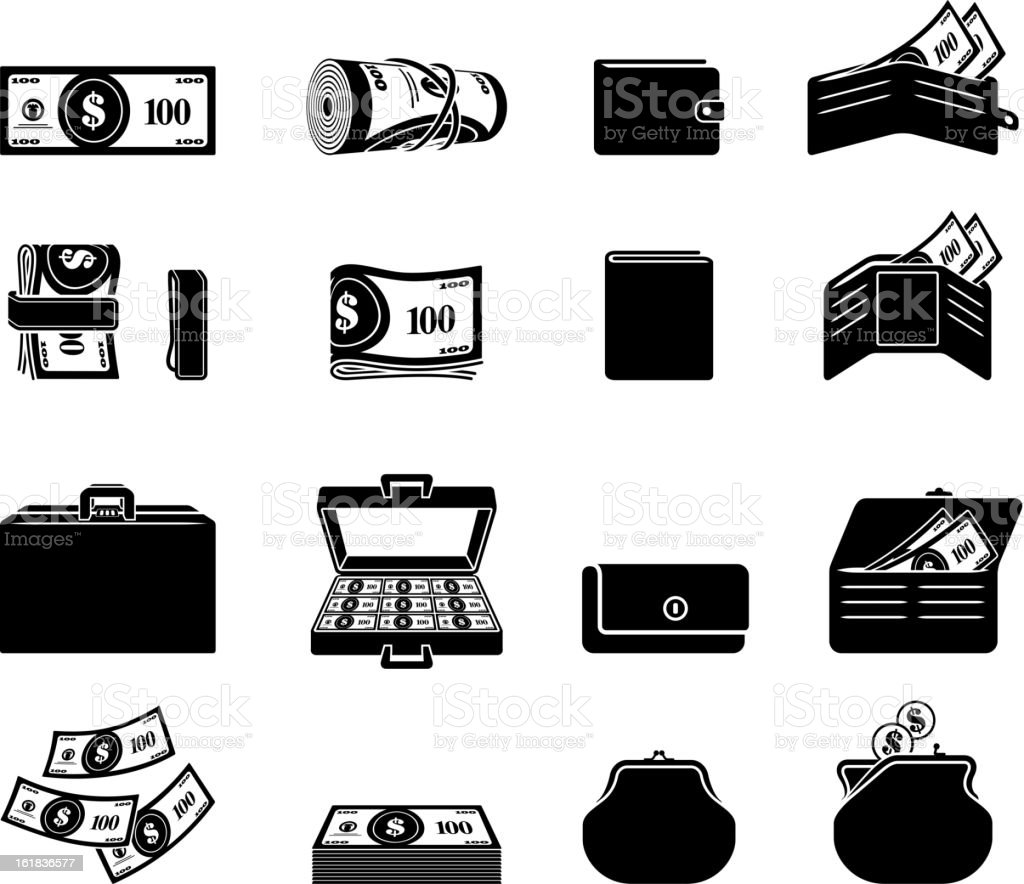 Money Finances black and white royalty free vector icon set vector art illustration