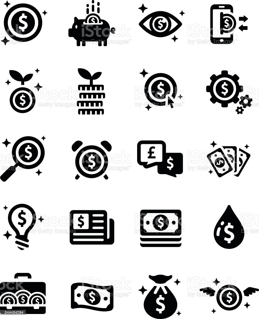 Money Financial Business Investment Vector Icon Set vector art illustration