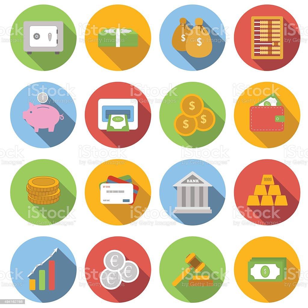 Money Flat icon set vector art illustration