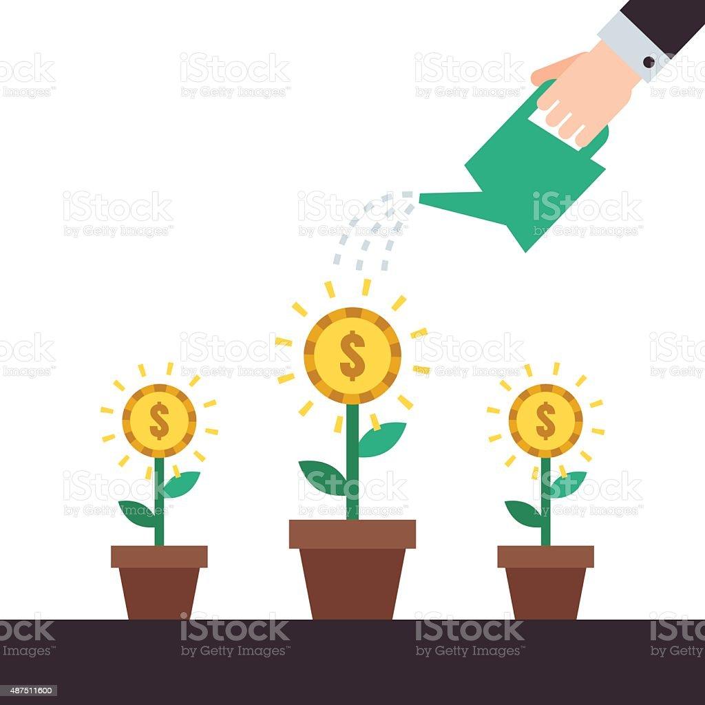 Money flowers growing up. Hand watering money flowers vector illustration. vector art illustration
