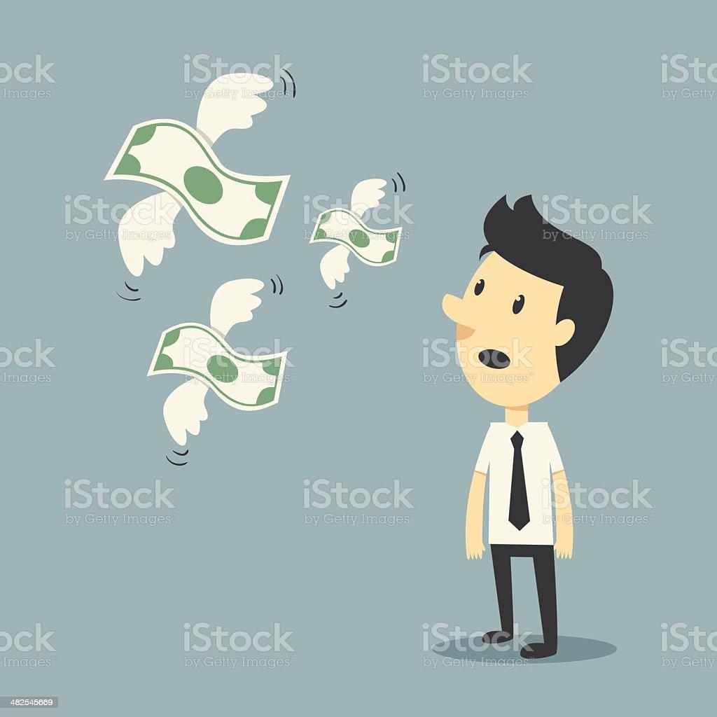 money flying vector art illustration