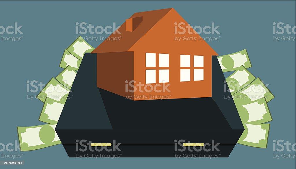 money for home - bag vector art illustration