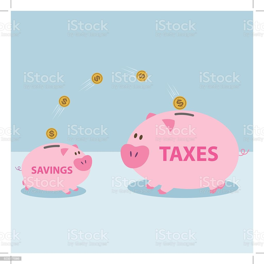 Money from piggy bank to be allowed to pay taxes. royalty-free stock vector art