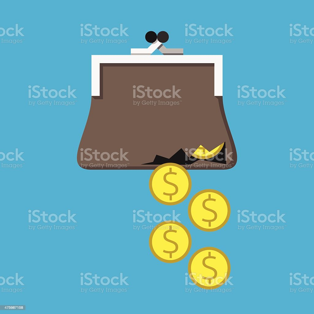 Money from torn purse vector art illustration