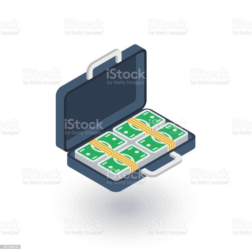 money full case, banking, dollar cash, finance isometric flat icon. 3d vector vector art illustration