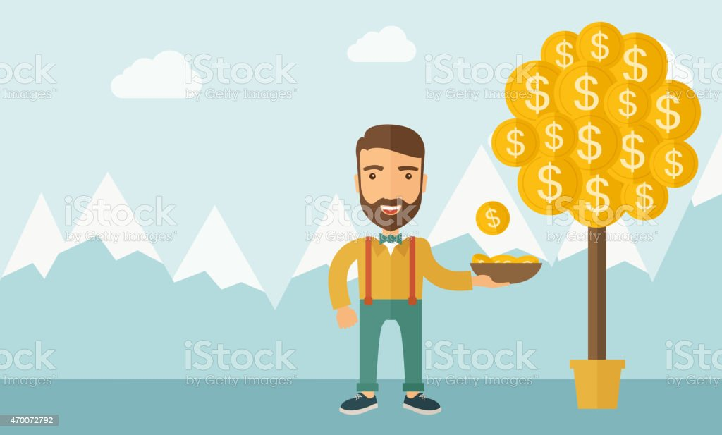 A Caucasian with beard man standing while catching a dollar coin from...