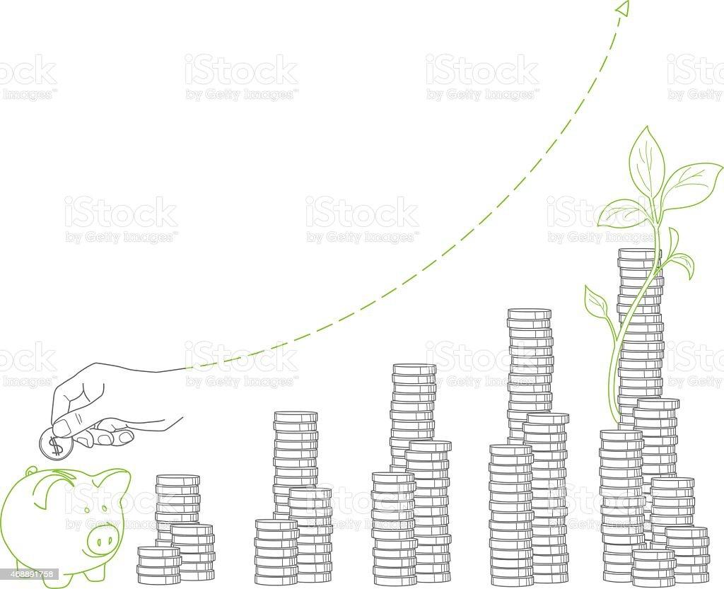 O crescimento. Pilhas de moedas e muda, piggy bank vetor e ilustração royalty-free royalty-free