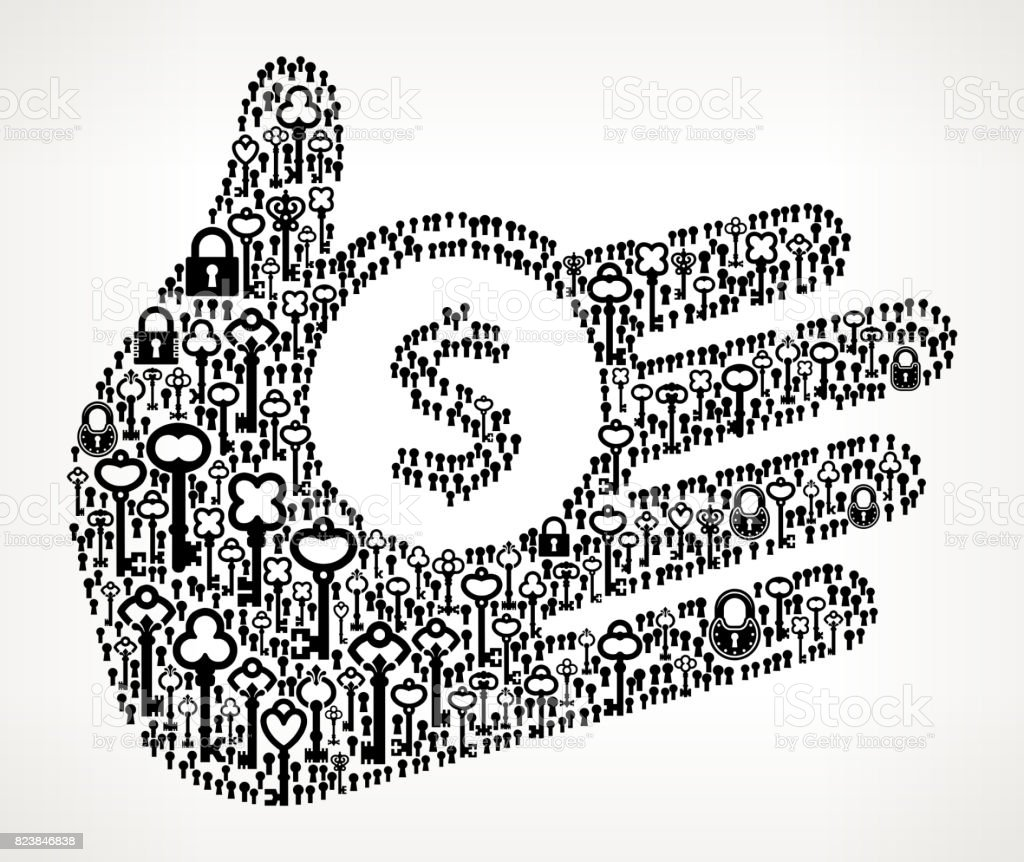 Money Hand  Antique Keys Black and White Vector Pattern vector art illustration