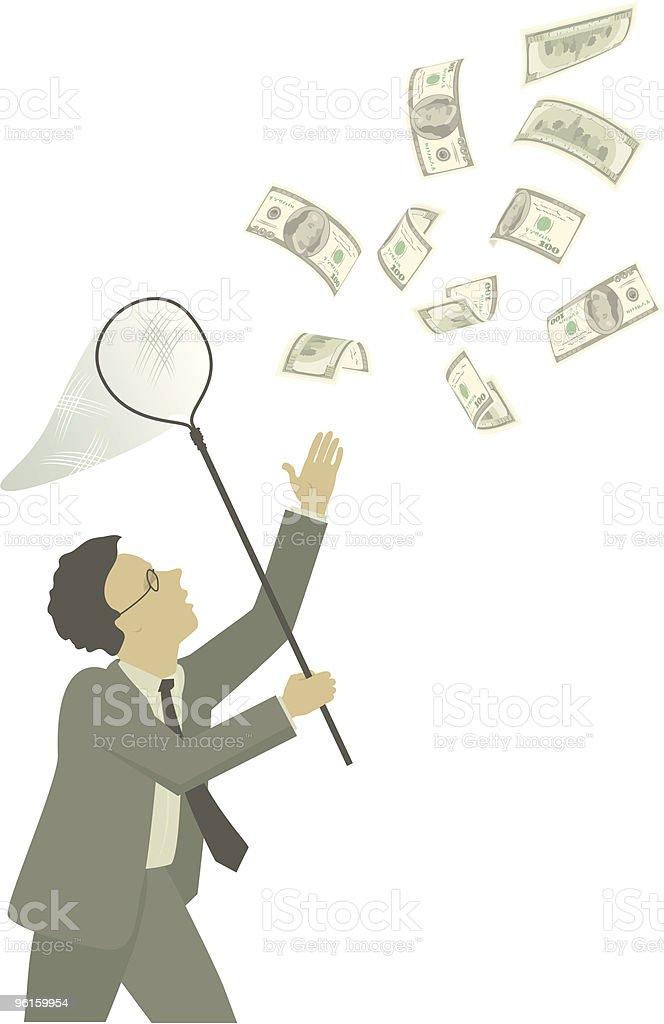 Money hunt vector art illustration