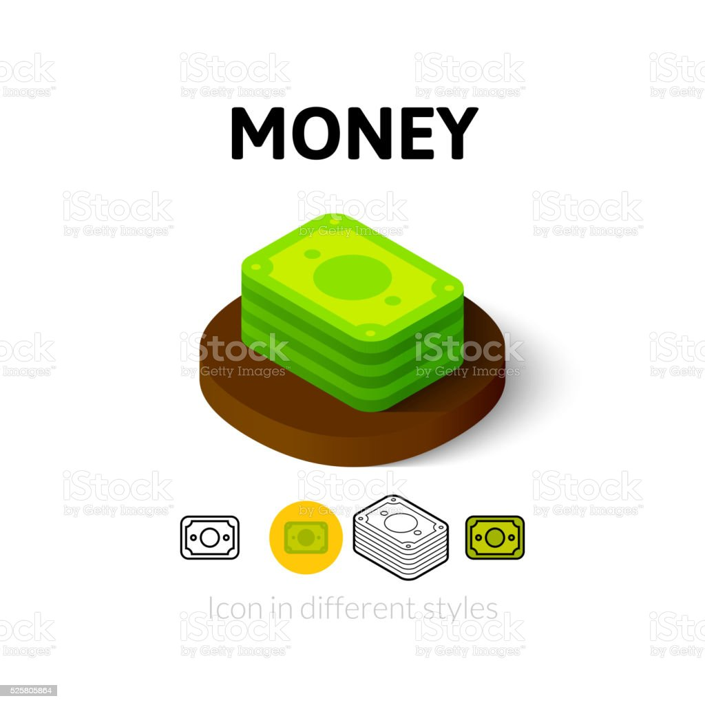 Money icon in different style vector art illustration