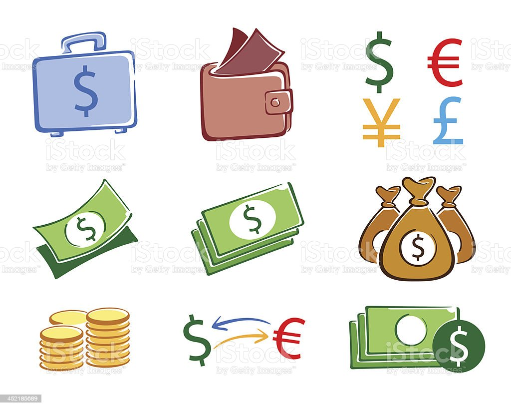 Money icon set color royalty-free stock vector art