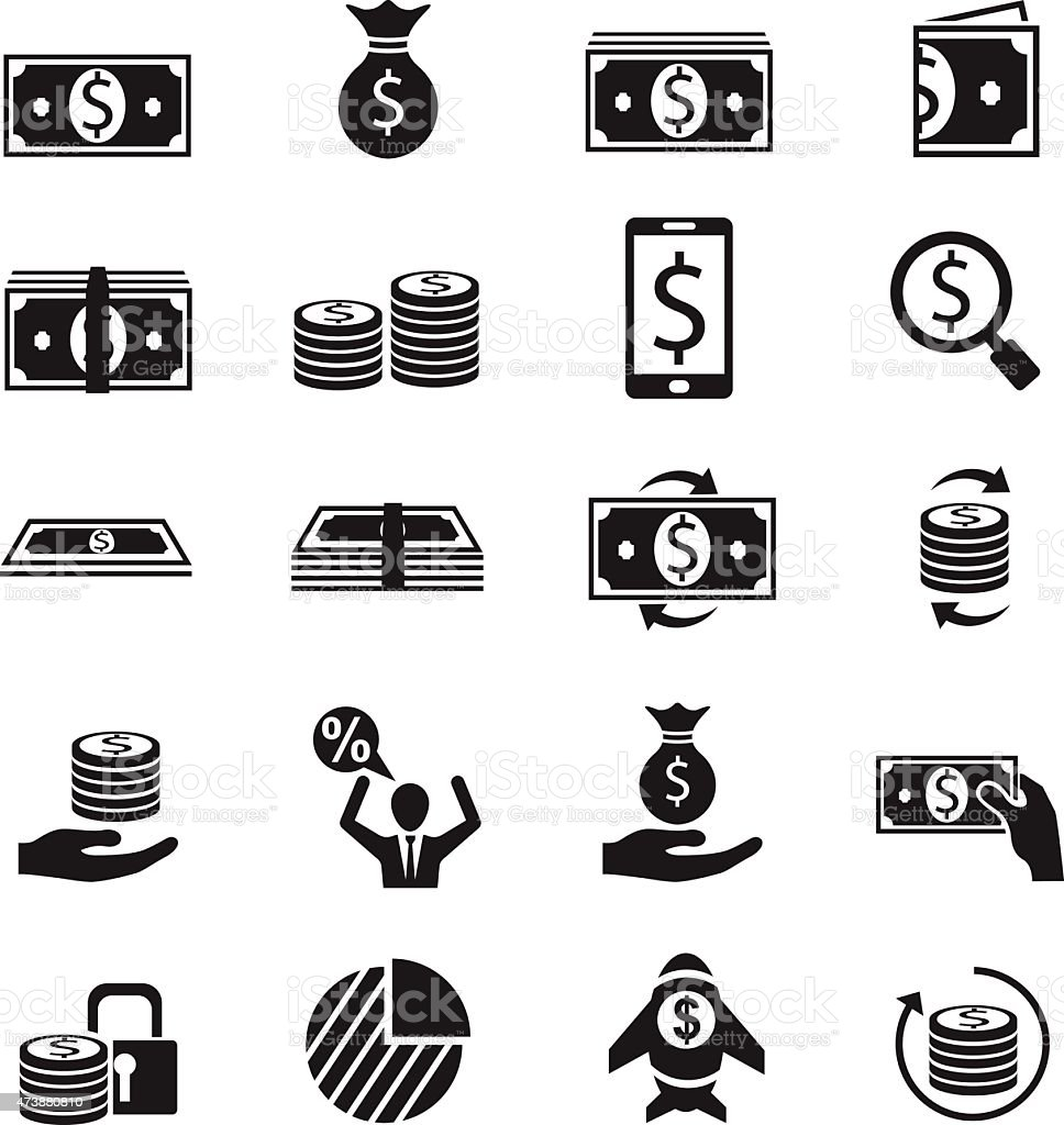Money icon set vector art illustration