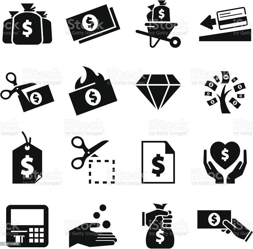 Money Icons - Black Series vector art illustration