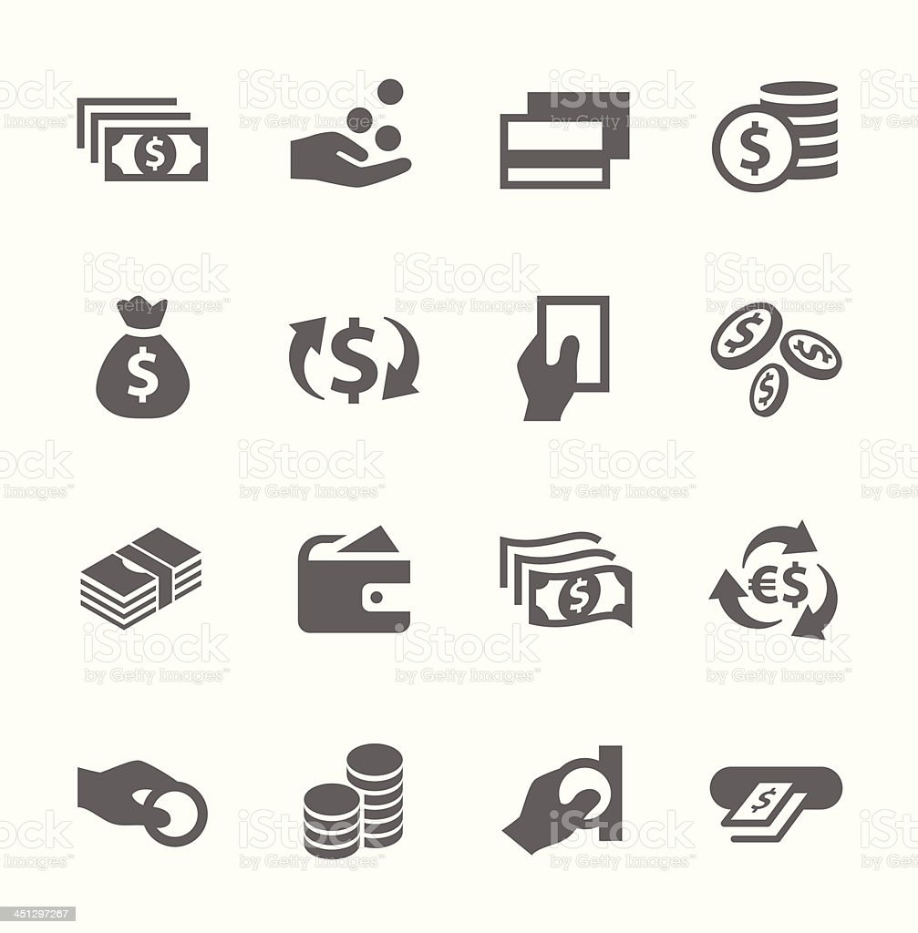 Money icons set. vector art illustration