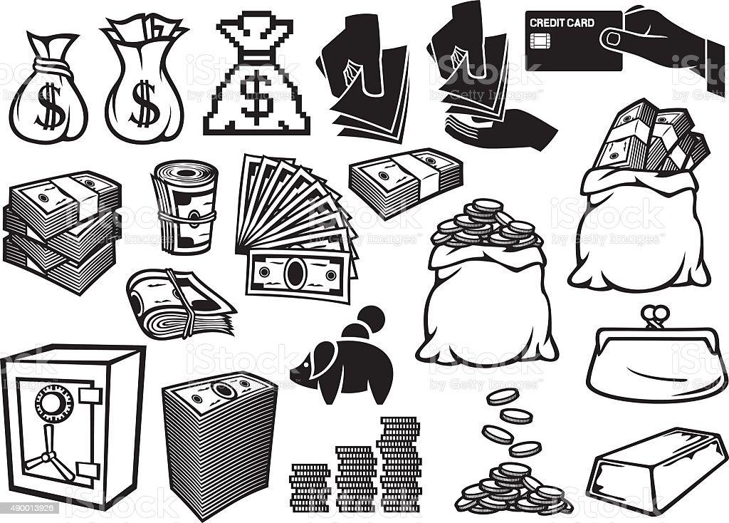 money icons set vector art illustration