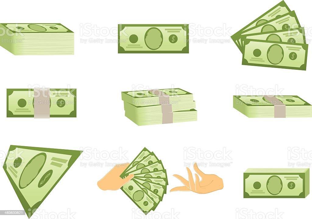 US Money Icons vector art illustration