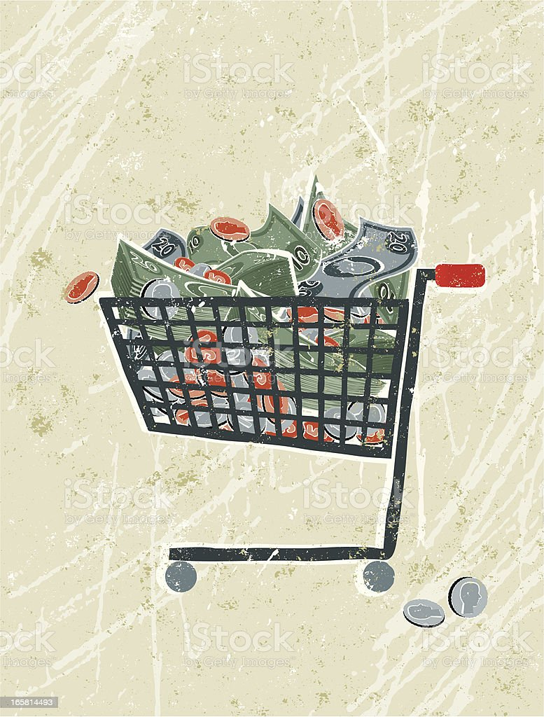 Money in a Shopping Trolley royalty-free stock vector art