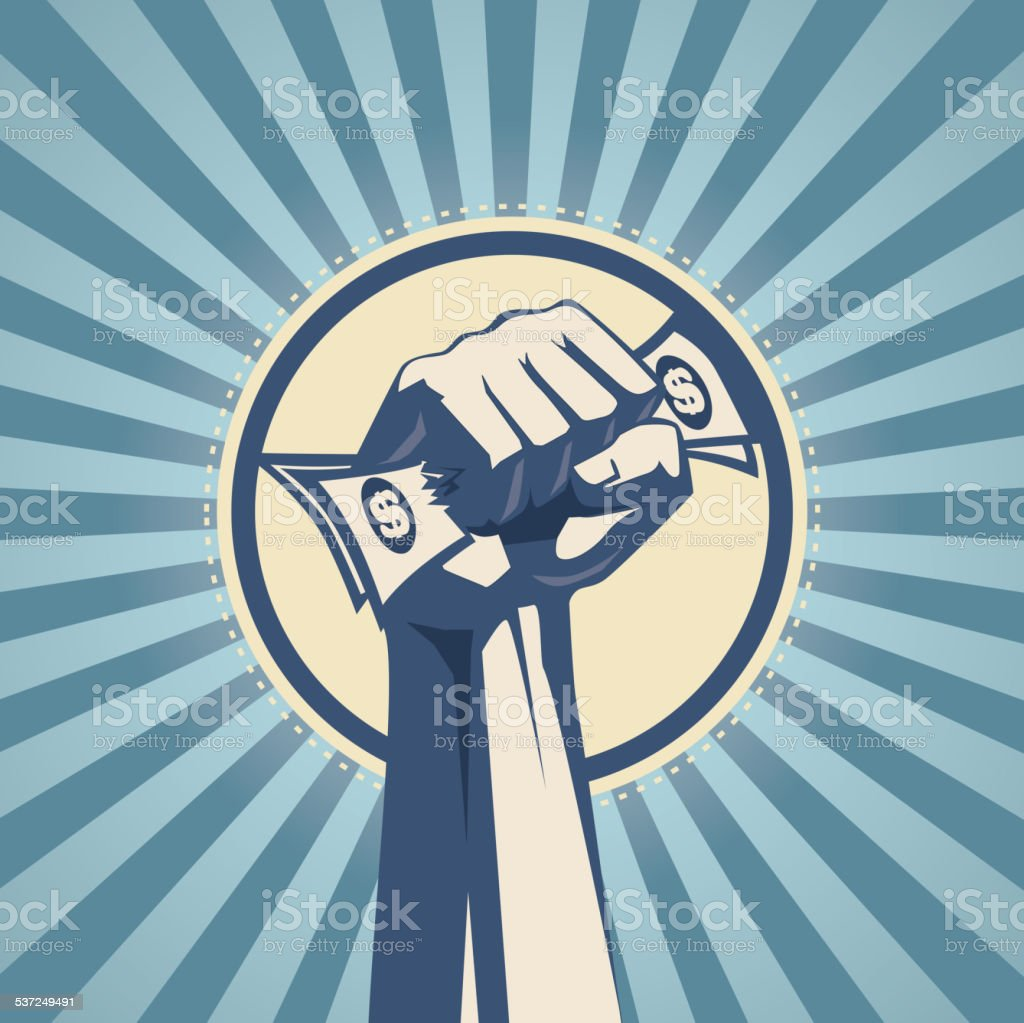 Money in hand vector art illustration