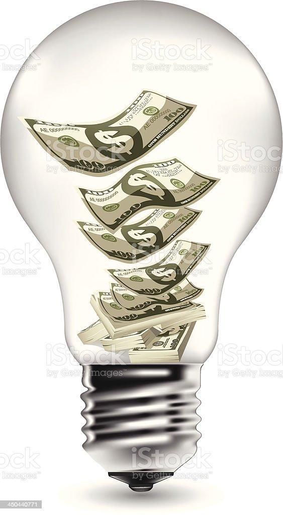 Money In Light Bulb royalty-free stock vector art