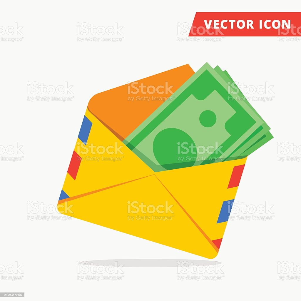 Money in post envelope flat vector icon vector art illustration